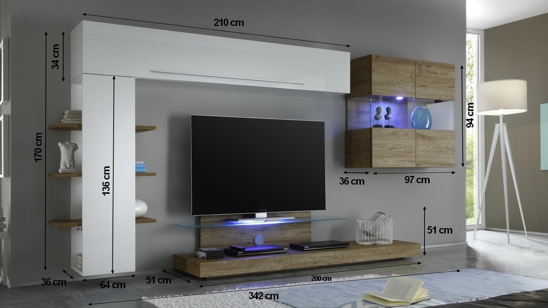 Meuble Tv Mural Blanc Et Bois Miel Avec Rangement Assen Gdegdesign # Meuble Tv Avec Vitrine