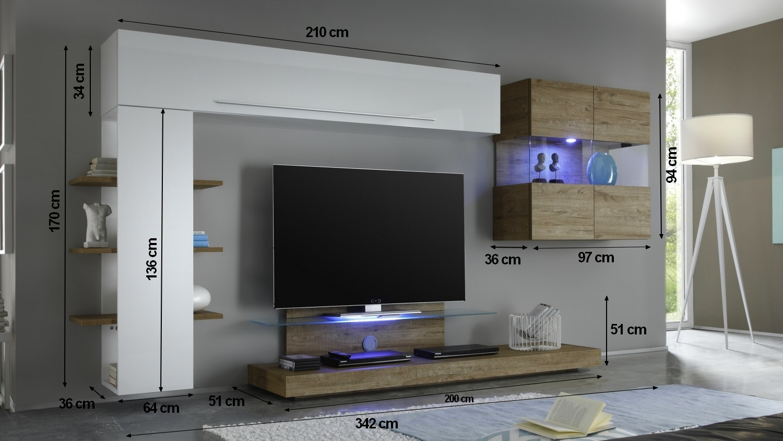 Meuble Tv Mural Blanc Et Bois Miel Avec Rangement Assen Gdegdesign # Meuble Sous Tv Suspendu